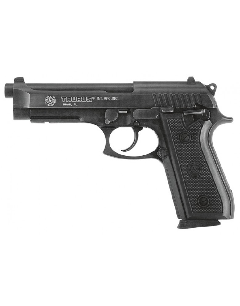 taurus 92 9mm pistol with rubber grips in blue steel